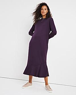 Aubergine Flounce Hem Midi Sweatshirt Dress