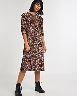 Ditsy Floral Ruffle Yoke Jersey Dress