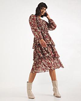 Floral Tiered V-Neck Midi Dress