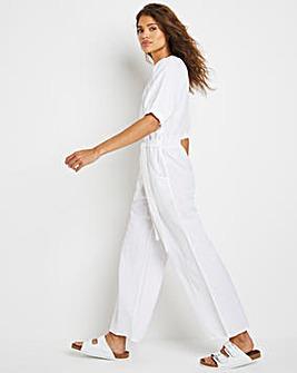 White Linen Puff Sleeve Jumpsuit with Tie Waist Belt
