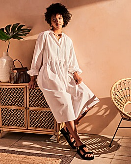 White Cotton Poplin Tiered Smock Dress