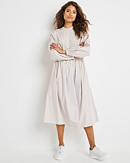 Stone/White Stripe Cotton Poplin Tiered Smock Dress