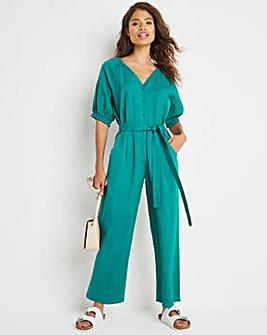 Green Linen Puff Sleeve Jumpsuit with Tie Waist Belt