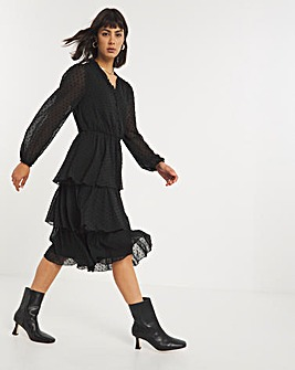 Black Tiered V-Neck Midi Dress