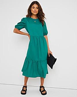 Green Cotton Poplin Tiered Dress