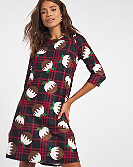 Christmas Pudding Jersey Swing Dress