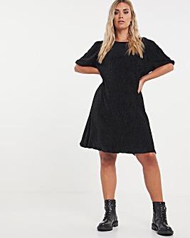 Black Velour Puff Sleeve Swing Dress