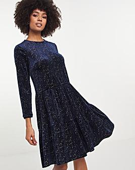 Navy Glitter Velour Tiered Swing Dress