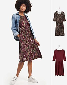 Ditsy Floral 2 Pack 3/4 Sleeve Midi Smock Dresses