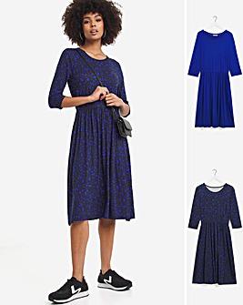 Blue Print 2 Pack 3/4 Sleeve Midi Smock Dresses