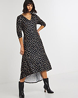 Dash Print Dip Back Swing Dress