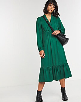 Forest Green Gathered Waist Midi Dress