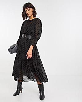 Black Mesh Spot Short Sleeve Tiered Dress