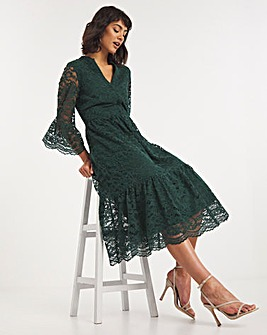 Forest Green Lace Puff Sleeve Midi Dress