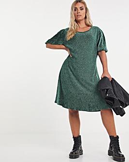 Green Velour Puff Sleeve Swing Dress