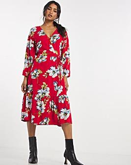 Red Floral Wrap Midi Dress