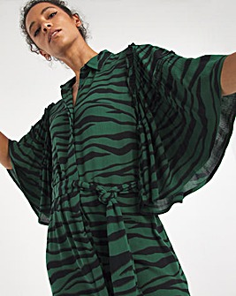 Green Print Crinkle Frill Sleeve Shirt Dress