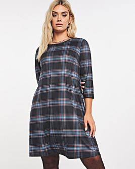 Check Jersey Swing Dress
