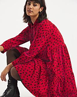 Red Print Tiered Smock Shirt Dress