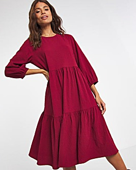 Berry Textured Smock Dress