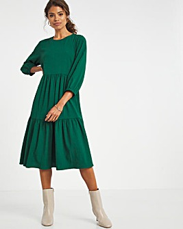 Forest Green Textured Smock Dress
