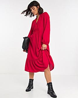 Red Gathered Waist Midi Dress
