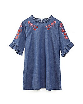 Yumi Girl Floral Denim Frill Dress
