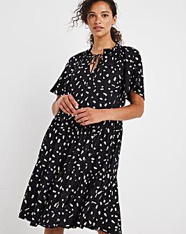 Black Angel Sleeve Tiered Smock Dress