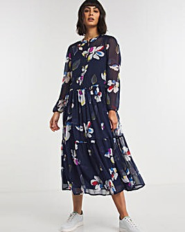 Blue Floral Tiered Maxi Smock Dress