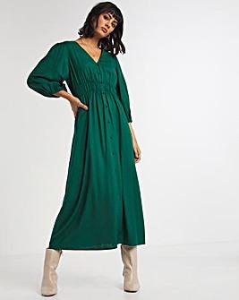 Forest Green Shirred Waist Tea Dress