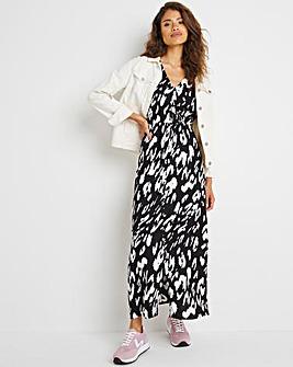 Mono Print Shirred Waist Tea Dress