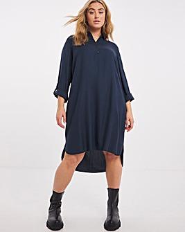 Navy Zip Neck Shirt Dress