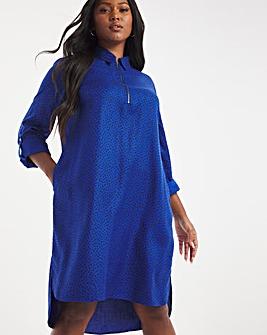 Cobalt Spot Zip Neck Shirt Dress