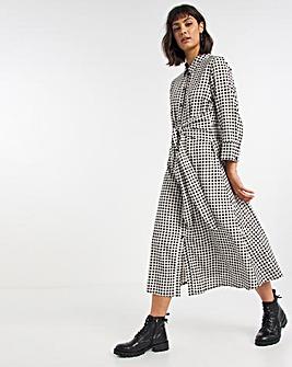 Gingham Tie Waist Midi Shirt Dress