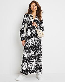 Mono Print Frill Collar Balloon Sleeve Maxi Dress