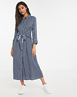 Blue Check Tie Waist Midi Shirt Dress