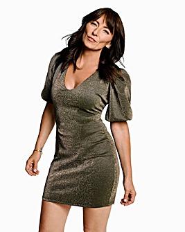 Gold Volumn Sleeve Bodycon Dress