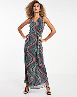 Geo Print Plisse Maxi Dress