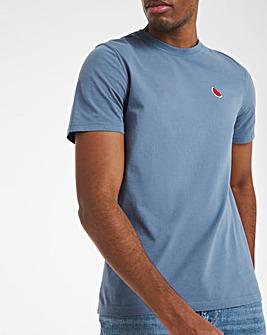Blue Garment Dyed Emb Tee