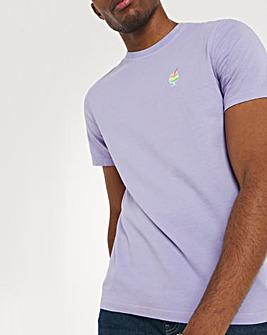 Lilac Garment Dyed Emb Tee