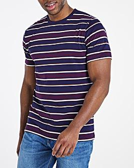 Navy / Wine Stripe Tee L