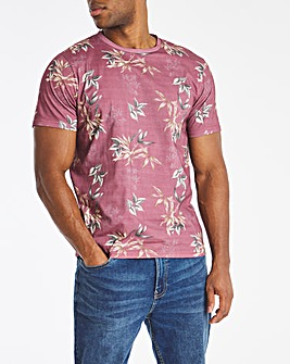 Wine Floral All Over Print Tee L