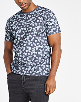 floral all over print tee l