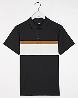 Black Cut and Sew Colour Block Polo Long