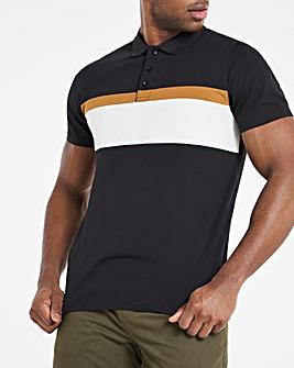 Black Cut and Sew Colour Block Polo Reg