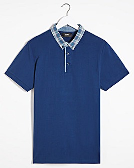 Blue Woven Collar Polo Regular