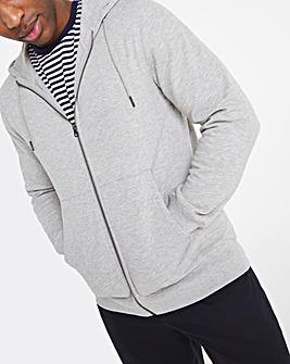 Grey Marl Full Zip Hood Long