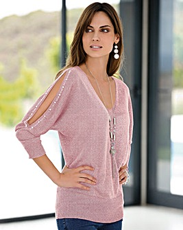 Together Metallic Split Sleeve Pink or Silver Grey Jumper