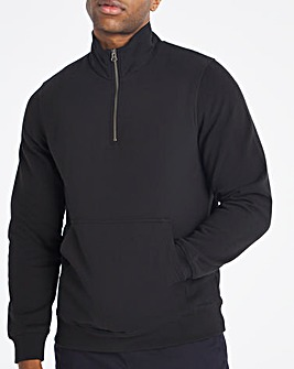 Black Quarter Zip Sweat Long