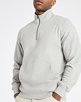 Grey Marl Quarter Zip Sweat Long